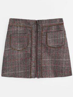 Zip Up Front Pockets Checked Skirt - Checked L