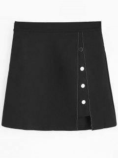 Button Embellished Cut Out Mini Skirt - Black L