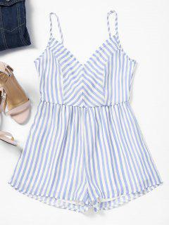 Striped Tied Bowknot Back Cami Romper - Light Blue M