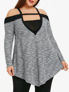 Plus Size Square Neck Marled Tunika Top - Schwarz 4xl