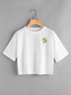 Back Logo Insert Embrioidered Top - White L