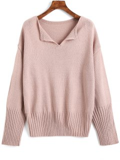 Drop Shoulder V Neck Plain Sweater - Pinkish Purple