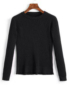 Crew Neck Ribbed Knitted Top - Black