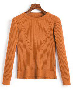 Crew Neck Ribbed Knitted Top - Light Brown