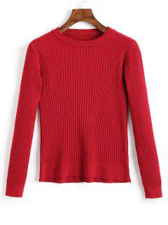 Crew Neck Ribbed Knitted Top - Dark Red