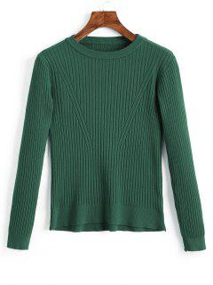 Crew Neck Ribbed Knitted Top - Green