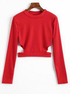 T-shirt Court Côtelé Découpé - Rouge S