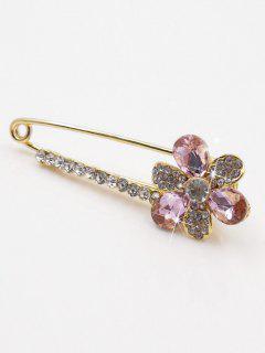 Faux Crystal Embellished Floral Brooch - Pink