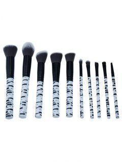 Set De Cepillo Profesional Del Maquillaje Del Pelo De La Fibra Sintética 10Pcs - Negro