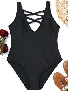 Criss-cross Plus Size Swimsuit - Black 4xl