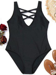 Criss-cross Plus Size Swimsuit - Black 2xl