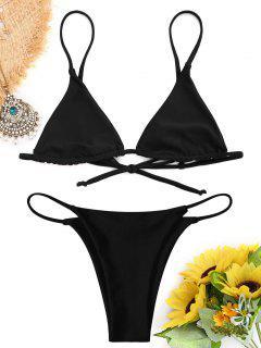 Bralette Thong String Bikini Set - Black M