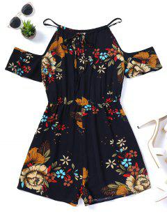 Cami Floral Cold Shoulder Romper - Purplish Blue M