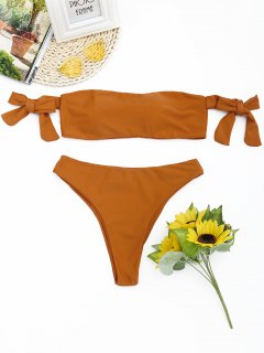 High Cut Off The Shoulder Bikini Set - Orange M