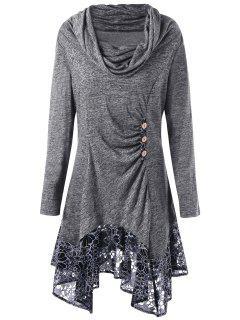 Plus Size Cowl Neck Floral Longline Top - Gray Xl