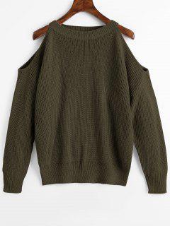 Rundhalsausschnitt Kalte Schulter Pullover - Armeegrün