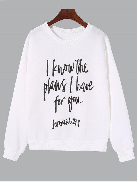 best Crew Neck Letter Graphic Pattern Sweatshirt - WHITE L Mobile
