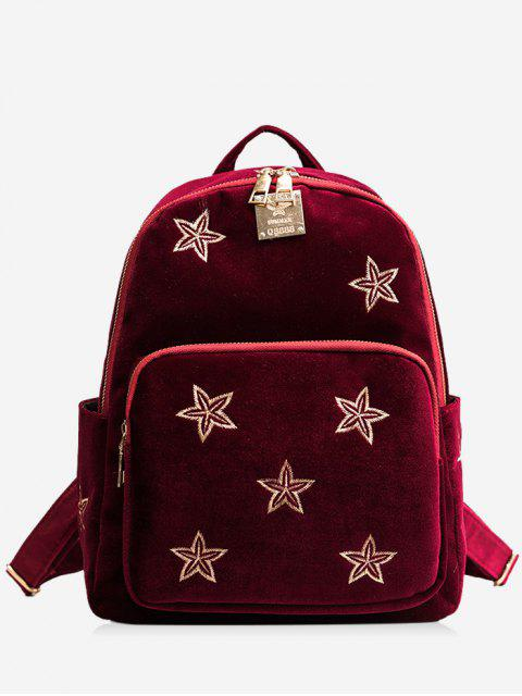 womens Stars Embroidery Side Pockets Backpack - RED  Mobile