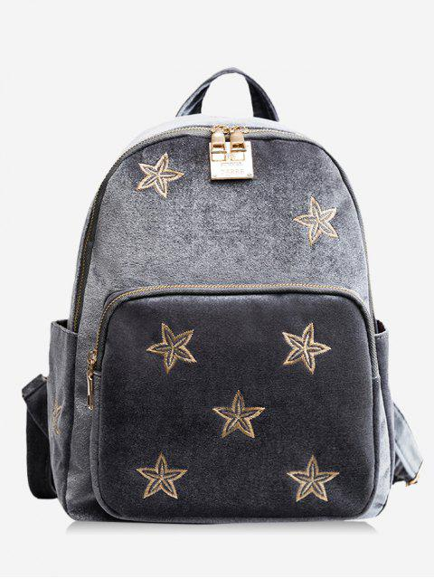 women Stars Embroidery Side Pockets Backpack - GRAY  Mobile