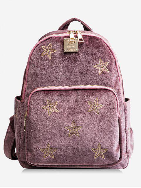 women's Stars Embroidery Side Pockets Backpack - PINK  Mobile