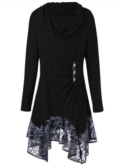 shop Plus Size Cowl Neck Floral Longline Top - BLACK 3XL Mobile