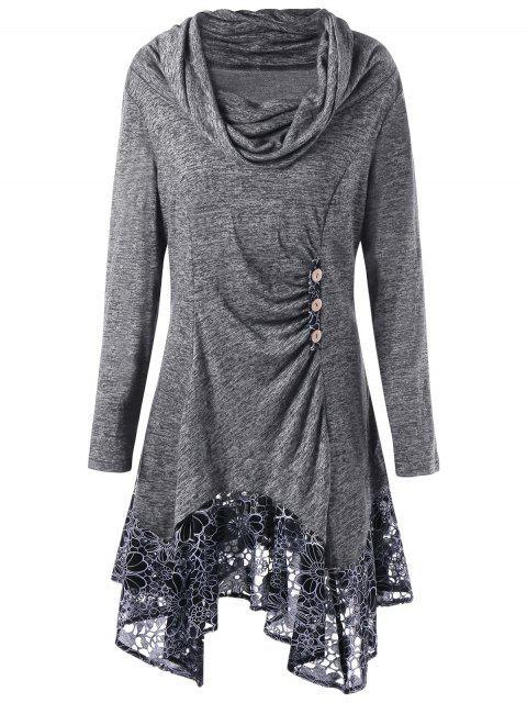 sale Plus Size Cowl Neck Floral Longline Top - GRAY XL Mobile