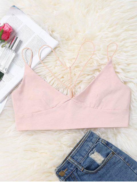 outfits Strappy Cropped Bralette Tank Top - PINK XL Mobile