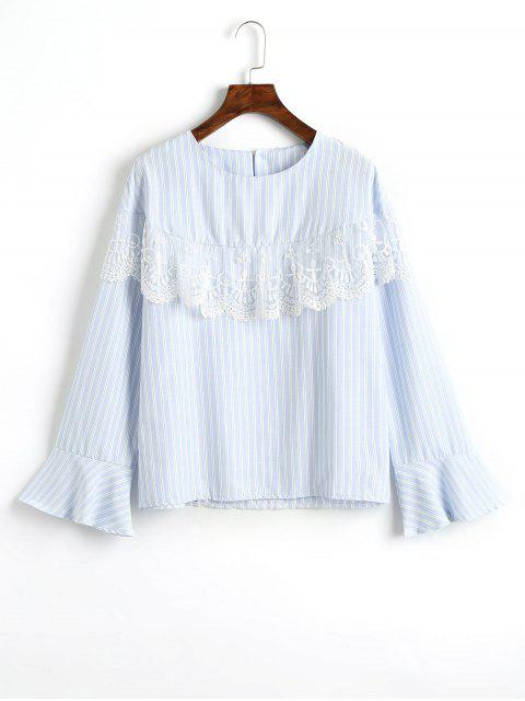hot Mesh Panel Flare Sleeve Striped Blouse - LIGHT BLUE XL Mobile