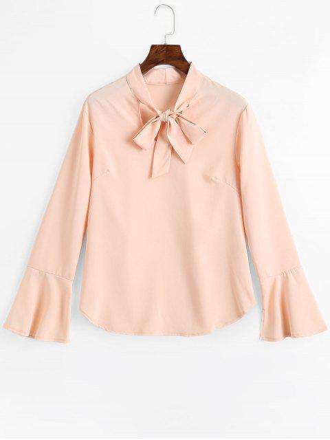 shops Slit Flare Sleeve Bow Tie Blouse - PINKBEIGE XL Mobile
