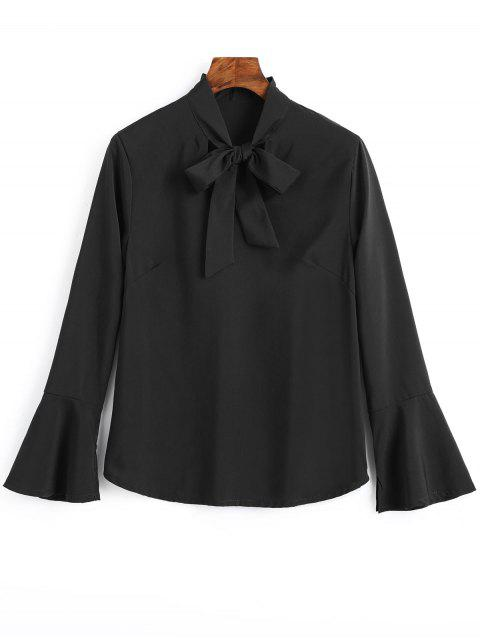 chic Slit Flare Sleeve Bow Tie Blouse - BLACK S Mobile