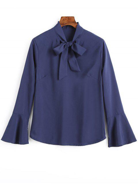 affordable Slit Flare Sleeve Bow Tie Blouse - CERULEAN S Mobile