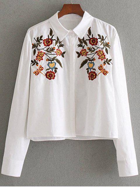 lady Hidden Button Floral Embroidered  Shirt - WHITE L Mobile