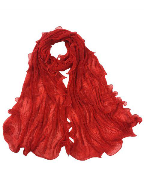 lady Vintage Wrinkle Silky Long Shawl Scarf - BRIGHT RED  Mobile