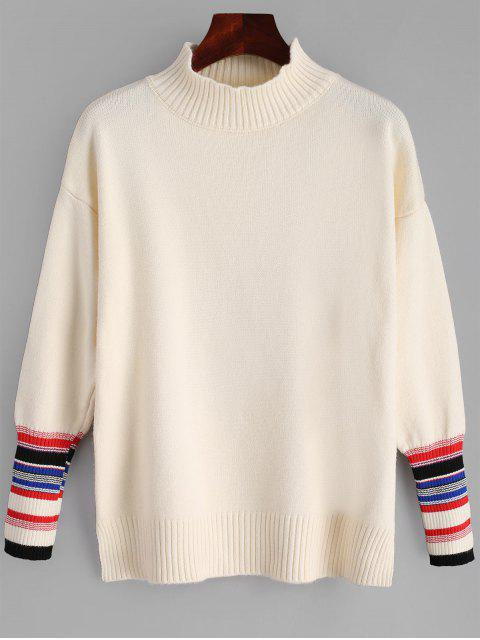 women High Neck Side Slit Striped Sweater - LIGHT APRICOT ONE SIZE Mobile