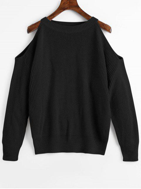 lady Crew Neck Cold Shoulder Pullover Sweater - BLACK ONE SIZE Mobile