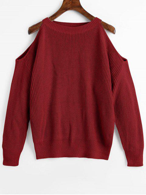 best Crew Neck Cold Shoulder Pullover Sweater - WINE RED ONE SIZE Mobile