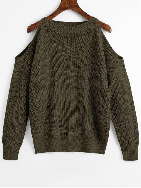 online Crew Neck Cold Shoulder Pullover Sweater - ARMY GREEN ONE SIZE Mobile