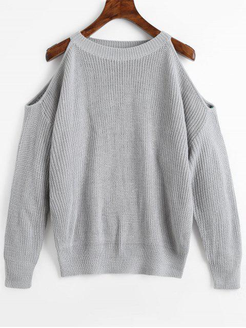new Crew Neck Cold Shoulder Pullover Sweater - GRAY ONE SIZE Mobile