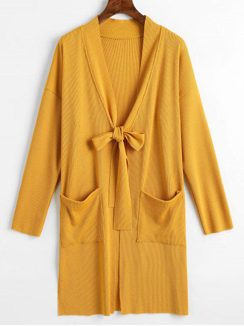 outfit Side Slit Tied Bowknot Longline Cardigan - YELLOW L Mobile