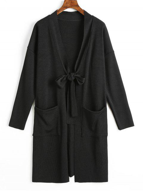 shop Side Slit Tied Bowknot Longline Cardigan - BLACK M Mobile