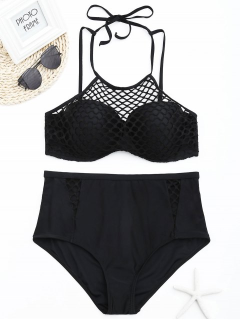buy Fishnet Overlay Underwire Plus Size Bikini Set - BLACK 2XL Mobile
