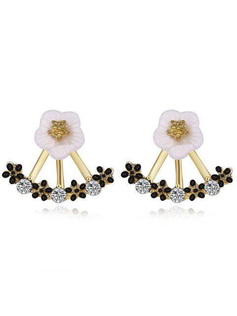 trendy Floral Faux Crystal Hollow Out Stud Earrings -   Mobile