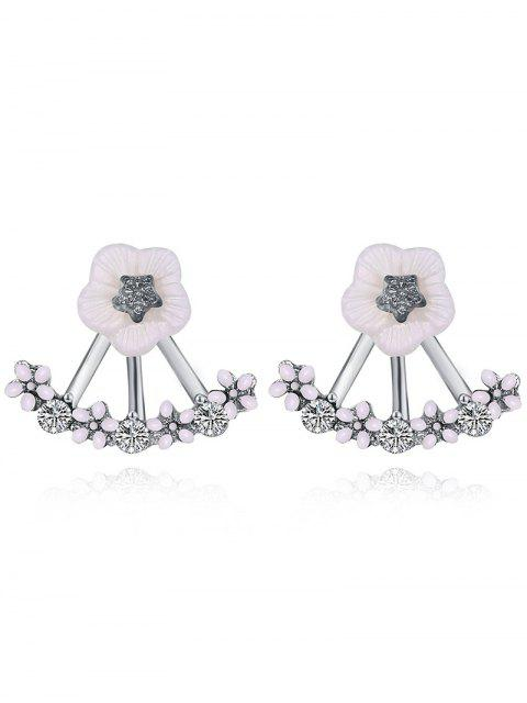 sale Floral Faux Crystal Hollow Out Stud Earrings -   Mobile