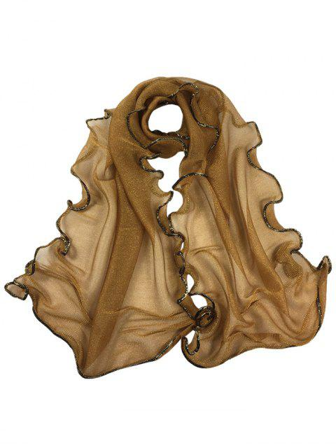 ladies Golden Edge Decoration Silky Long Shawl Scarf -   Mobile