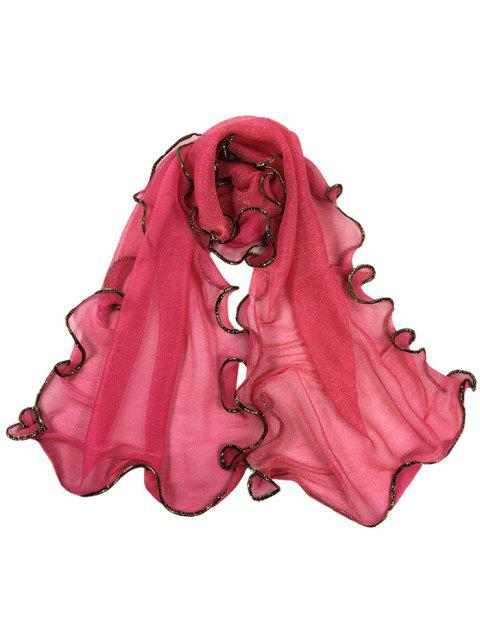 online Golden Edge Decoration Silky Long Shawl Scarf -   Mobile