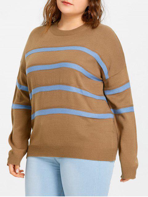 Suéter con cuello redondo a rayas con hombros caídos - Camello 5XL Mobile