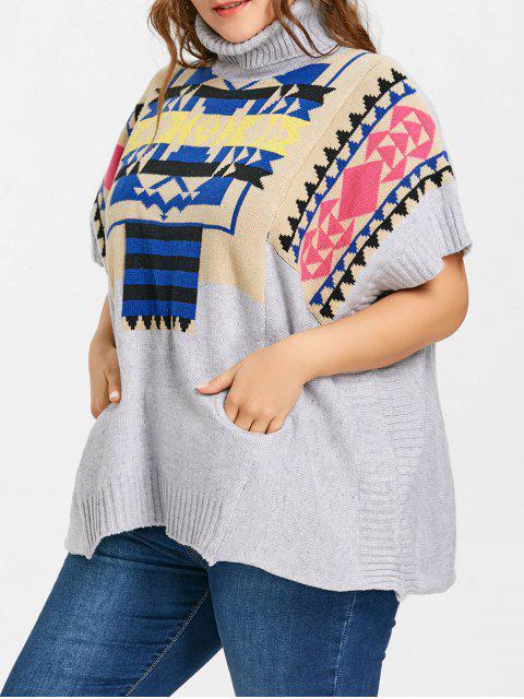 Rollkragen Geometrische Plus Size Poncho Sweater - Grau Eine Größe Mobile