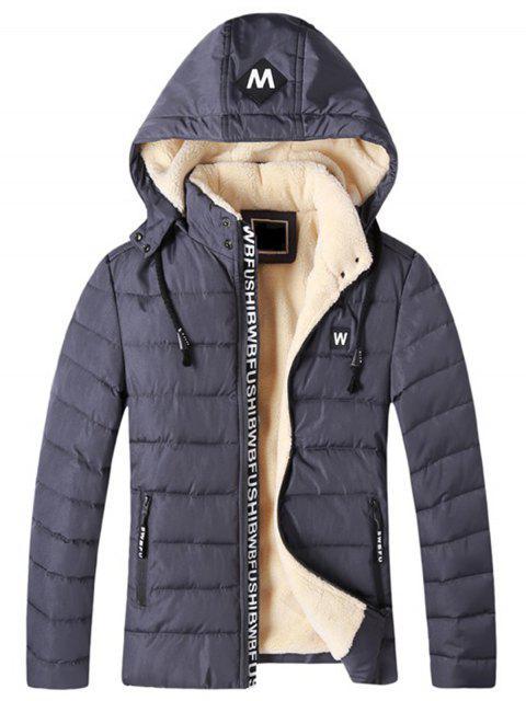 women Detachable Hooded Zip Up Fleece Padded Jacket - GRAY 2XL Mobile