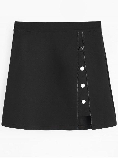 Jupe Courte Découpée avec Boutons Décoratifs - Noir L Mobile