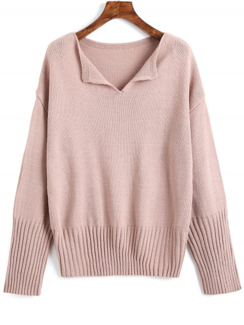 women's Drop Shoulder V Neck Plain Sweater - PINKISH PURPLE ONE SIZE Mobile